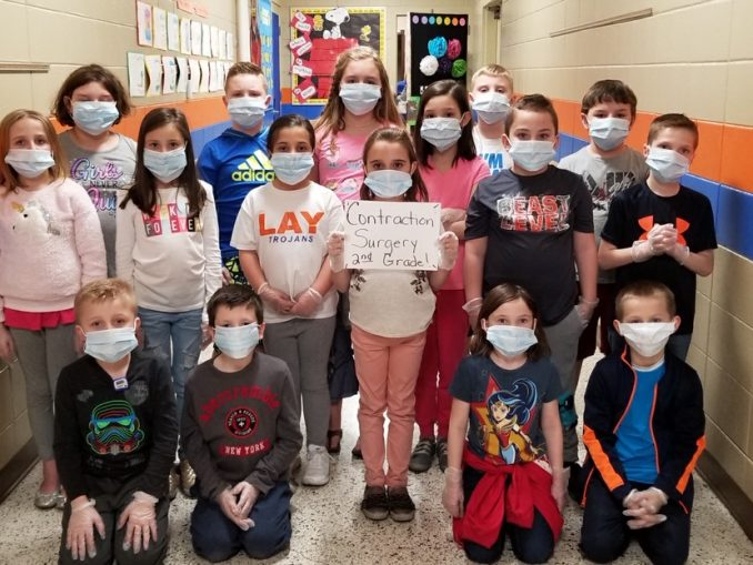 Lay students dressed as surgeons to perform word surgery on two words to create the contraction.