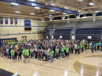 Students shown lined up in the gymnasium at Knox Central for freshman activities.