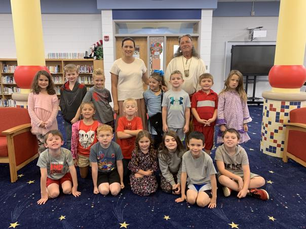 The first grade at Central Elementary is shown with Jim Redbird who visited the class.