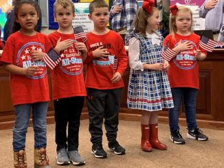 Five kindergarten students from G.R. Hampton led the pledge at the January meeting.