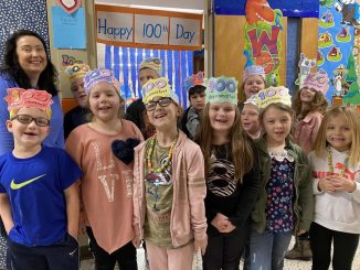Students at Lay celebrated the 100th day of school with their teacher Ms. Moore.