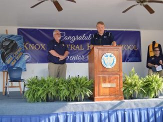 Principal and Superintendent shown on stage at Knox Central